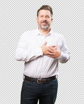 Middle aged man having a heart ache