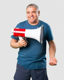 Middle aged man holding a megaphone