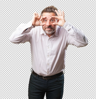 Middle aged man opening eyes