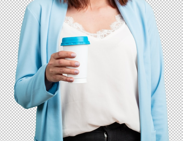 Middle aged woman closeup of someone holding a coffee to go, concept of motivation, energy and vitality