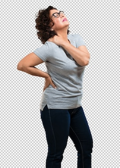 Middle aged woman with back pain due to work stress