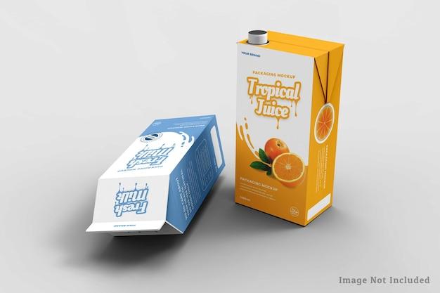 牛乳とジュースの箱のデザインのモックアップデザイン