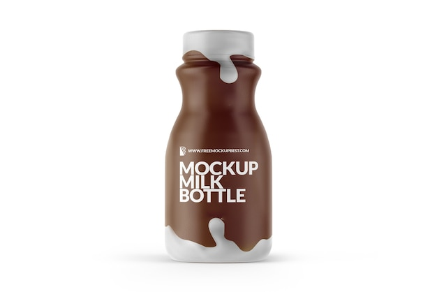 Milk bottle mockup isolated