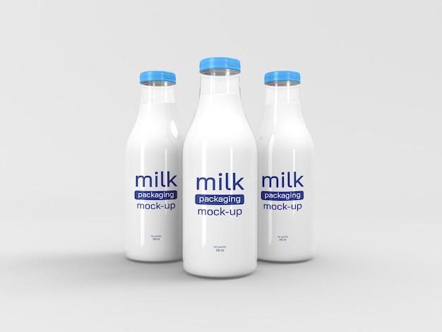 우유 병 포장 목업