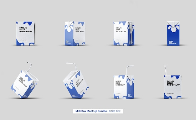 Milk box mockup design isolated bundle