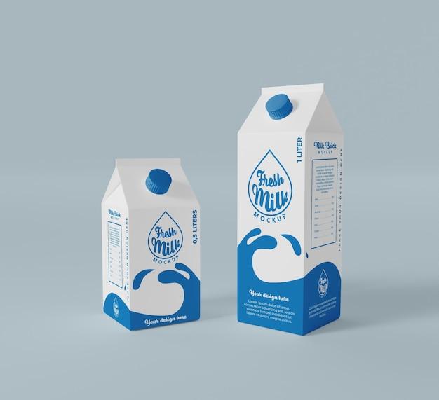 Mockup di mattoncini di latte