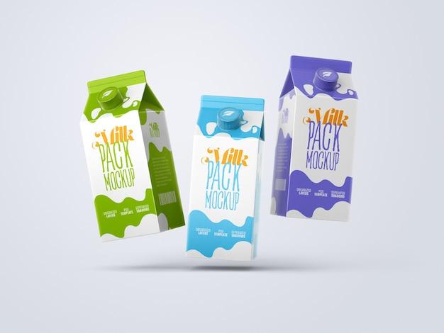 Мокап картонной коробки для молока