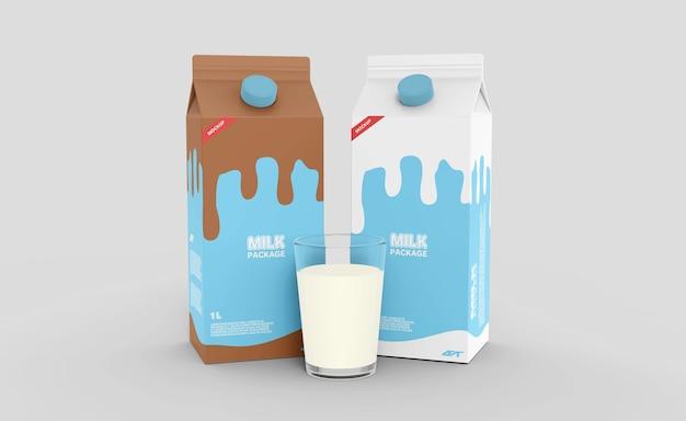 牛乳パック箱包装モックアップ
