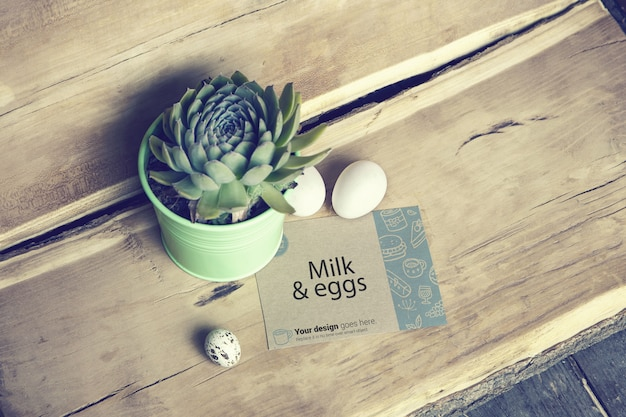 Milk eggs business card mockup top view