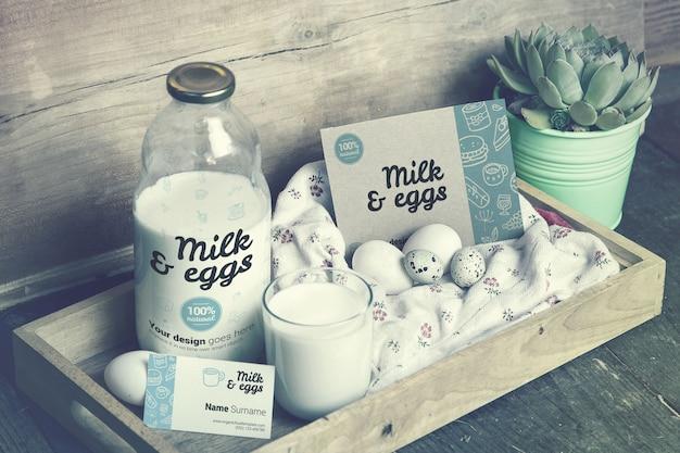Milk & eggs farm branding material mockup