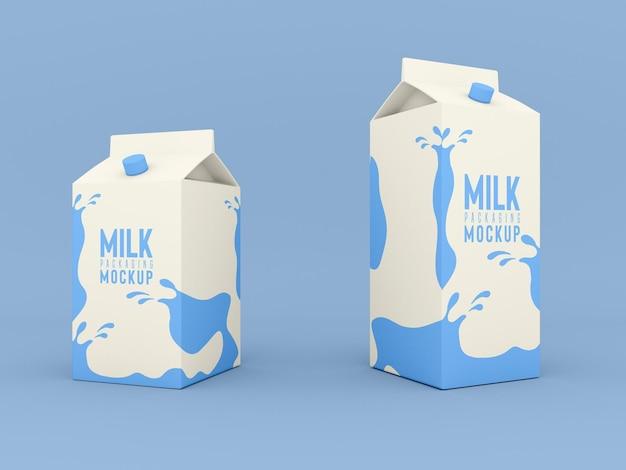 Mockup di scatola di imballaggio del latte