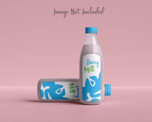 Мокап стеклянной бутылки с молоком для упаковки молока