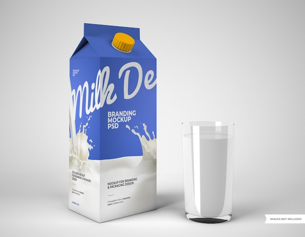 Макет упаковки молока со стеклом