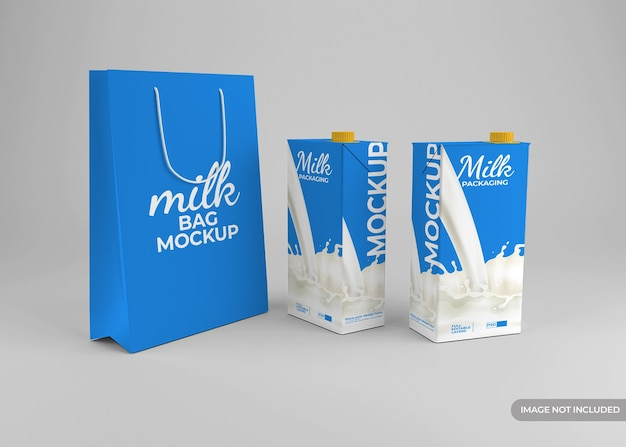 Milk packaging mockup with shopping bag