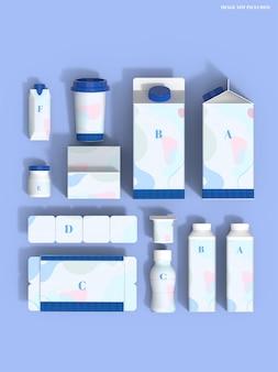 Milk packaging set mockup