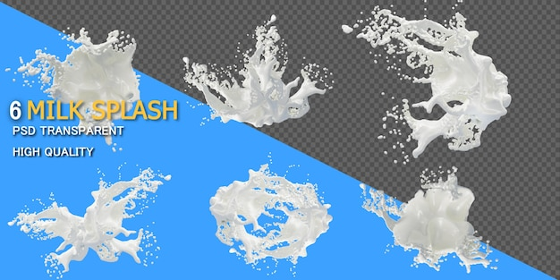 Milk splash in various styles isolated Premium Psd