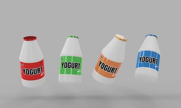 Milk yogurt bottle mockup 3d render for product design