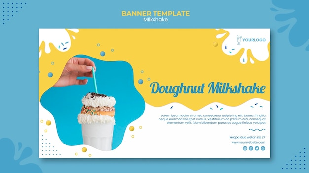 Milkshake banner template design