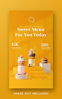 Milkshake drink menu promotion social media instagram story banner template