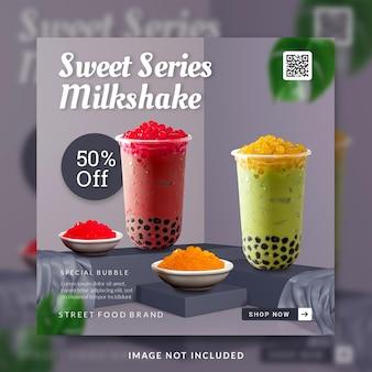 Milkshake drink menu promotion social media post or banner template