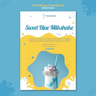 Milkshake poster template concept
