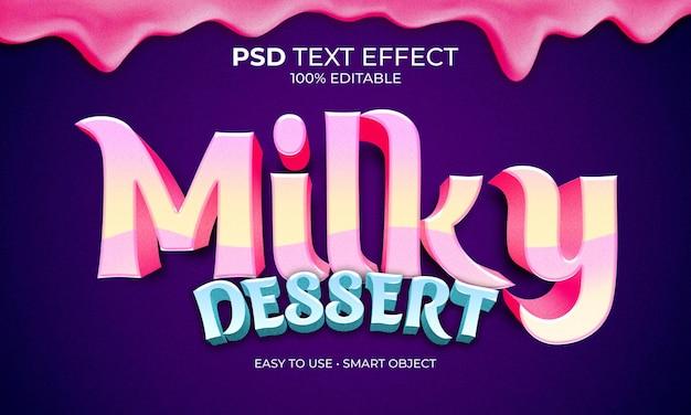 Текстовый эффект молочного десерта