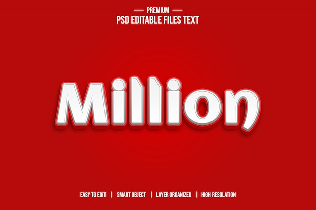 Million 3d text style effect