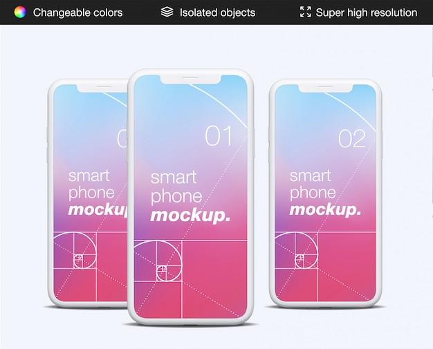 ミミマリスティックな正面スマートフォンアプリ画面のモックアップテンプレート