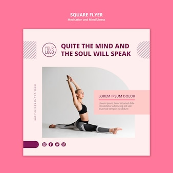 Mind and soul square flyer template
