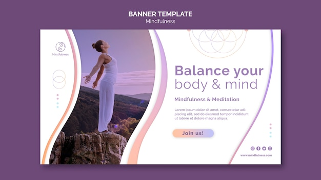Mindfulness concept banner template Free Psd