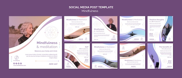 Mindfulness concept social media post template