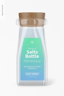 ミネラル塩ボトルモックアップ、正面図
