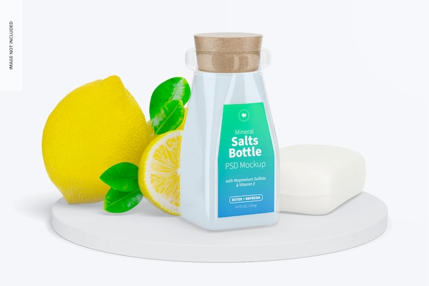 表面のミネラル塩ボトルモックアップ