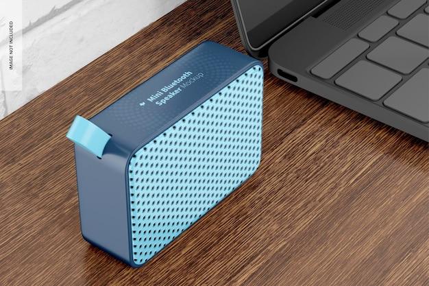 Mini bluetooth speaker mockup, perspective