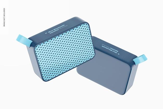 Mini bluetooth speakers mockup, floating