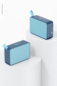Mini bluetooth speakers on surfaces mockup