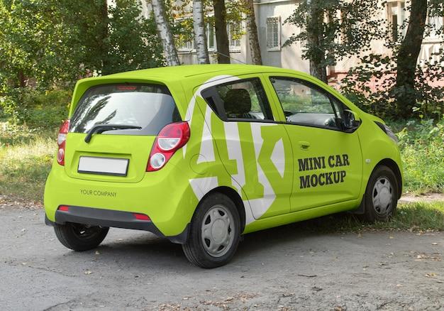 Mini car mockup isolated