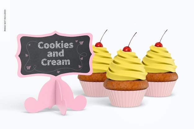 カップケーキのモックアップとミニ黒板サイン