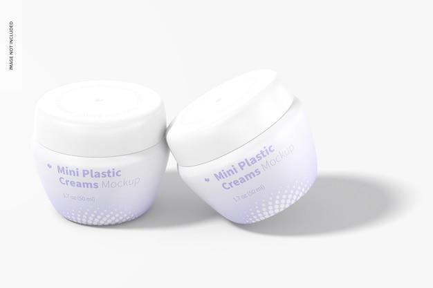 Mini vasetti di crema in plastica con coperchio mockup