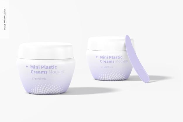 Мини-пластиковые баночки для крема с крышкой, макет