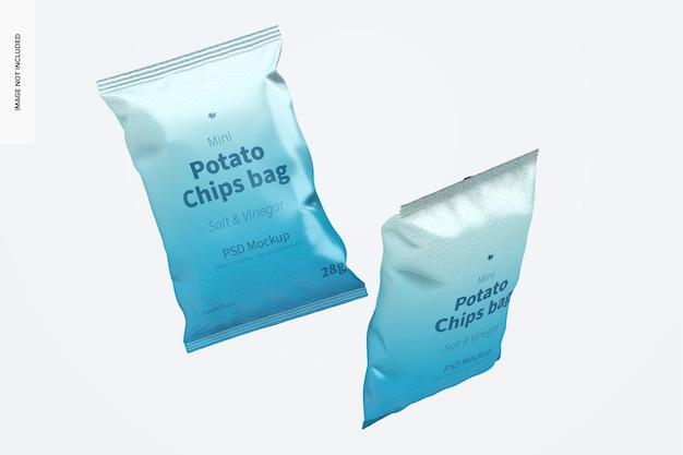 Мокап мешков с мини-картофельными чипсами