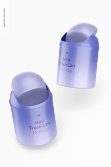 Mini trash cans mockup
