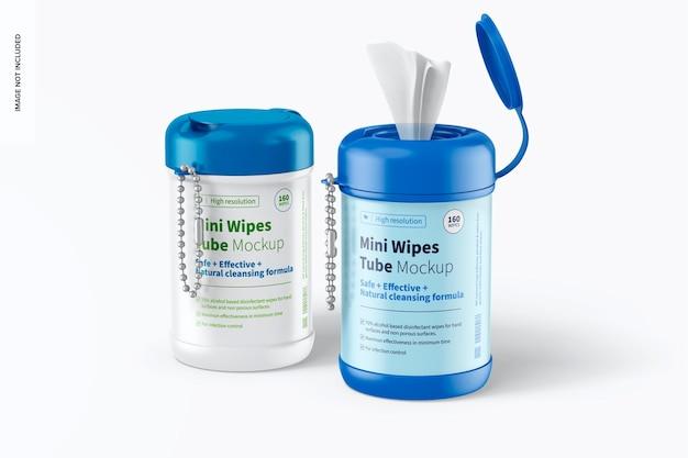 Mini wipes tubes mockup, closed and opened