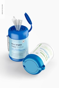 Mini wipes tubes mockup, standing and dropped