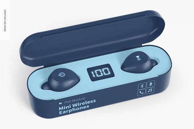 Mockup di mini auricolari wireless, aperto