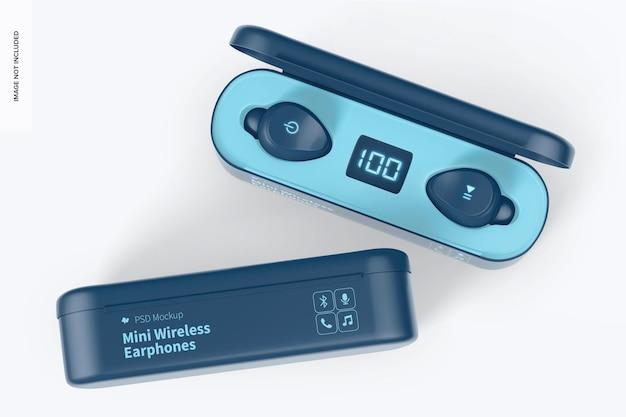 Mockup di mini auricolari wireless, vista dall'alto