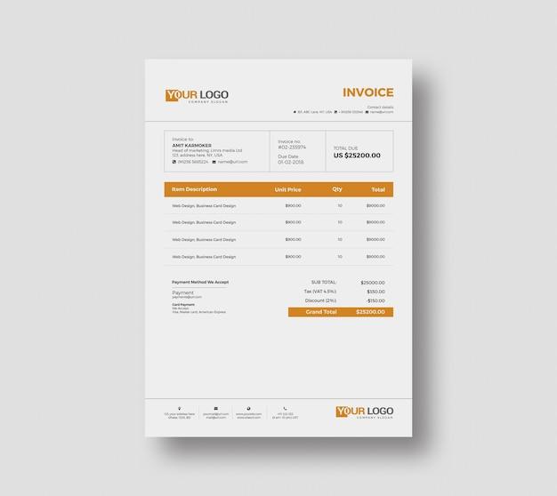 Miniamal invoice template design