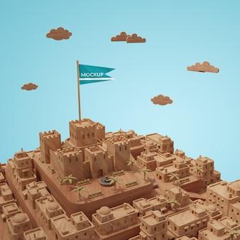 Миниатюрная 3d модель зданий города