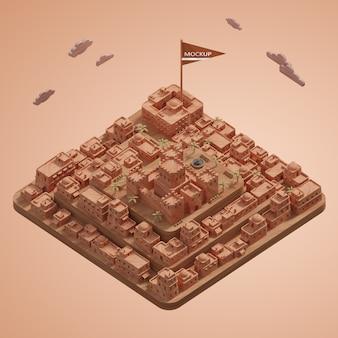 Миниатюрная 3d модель города с макетом