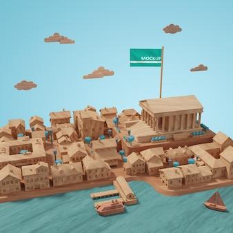 도시 건물의 미니어처 개념